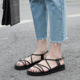 Arden Furtado Summer Fashion Trend Women's Shoes Pure Color Sandals Leather Concise Buckle Narrow Band Classics