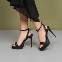 Arden Furtado Summer Fashion Trend Women's Shoes  Sexy Elegant Pure Color Sandals Waterproof Buckle Stilettos Heels Narrow Band Party Shoes
