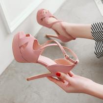 Arden Furtado Summer Fashion Trend Women's Shoes Stilettos Heels  Sexy  Matte Elegant Pure Color Party Shoes  Buckle Sandals