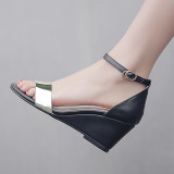 Arden Furtado Summer Fashion Trend Women's Shoes   Sexy Elegant Pure Color Concise Sandals Buckle Wedges  Leather