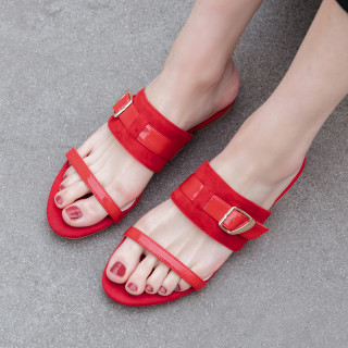 Arden Furtado Summer Fashion Trend Women's Shoes Pure Color Buckle Elegant Slippers flats Narrow Band Concise Classics