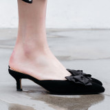Arden Furtado Summer Fashion Trend Women's Shoes Pointed Toe Stilettos Heels  Sexy Mules Elegant Mature Concise Pure Color Office lady Slippers