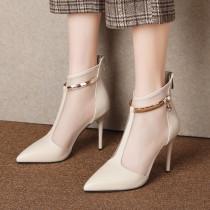 Arden Furtado Summer Fashion Trend Women's Shoes Pointed Toe Stilettos Heels Zipper Sexy Metal Chain Party Shoes Elegant Pure Color Short Boots
