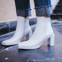 Arden Furtado Fashion Women's Shoes Winter Square Head  Elegant Ladies Boots Concise Mature Block heels Short Boots Pure Color