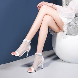 Arden Furtado Summer Fashion Trend Women's Shoes Stilettos Heels Zipper Sexy Elegant Ladies Boots Wire side Pure Color  Small size 33