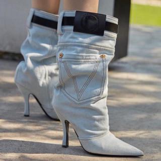 Spring and autumn fashion women's shoes slip-on sexy elegant ladies stilettos heels metal decoration blue denim jeans boots white half boots
