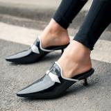 Arden Furtado Summer Fashion Trend Women's Shoes Pointed Toe Stilettos Heels  Sexy Elegant Pure Color Elegant Mules Slippers