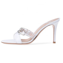 Arden Furtado Summer Fashion Trend Women's Shoes Stilettos Heels Sexy Buckle Elegant Classics Concise Pure Color white Slippers