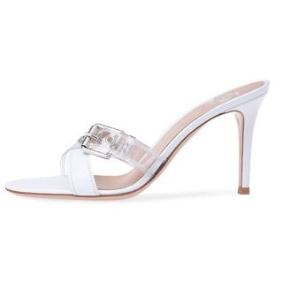 Arden Furtado Summer Fashion Trend Women's Shoes Stilettos Heels Sexy Buckle Elegant Classics Concise Pure Color white Slippers