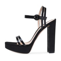 Arden Furtado Summer Fashion Women's Shoes Sexy Elegant black Sandals Chunky Heels Elegant open toe party shoes