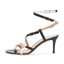 Arden Furtado Summer Fashion Trend Women's Shoes Stilettos Heels Pure Color Sandals Mature Buckle Elegant Party Shoes  Concise