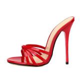 Arden Furtado Summer Fashion Trend Women's Shoes Sexy Elegant  Pure Color red Stilettos Heels Classics Slippers Narrow Band