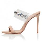Arden Furtado Summer Fashion Trend Women's Shoes  Stilettos Heels Sexy Elegant Pure Color Concise Slippers Crystal Rhinestone