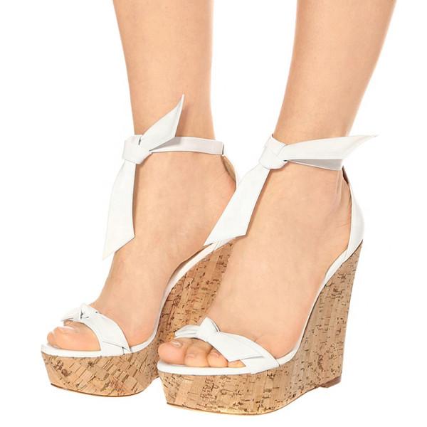 Arden Furtado Summer Fashion Women's Shoes Sexy Elegant wedges Sandals white Party Shoes big size