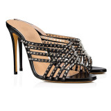 Arden Furtado Summer Fashion Women's Shoes Stilettos Heels Rivet Sexy Elegant Mature Pure Color Narrow Band Concise Slippers