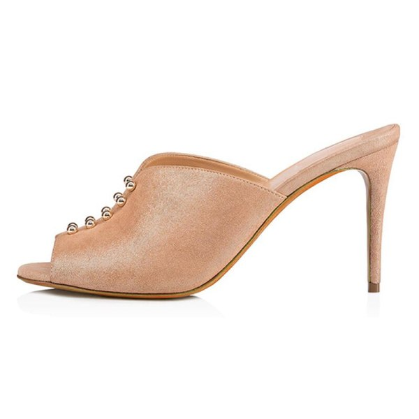 Arden Furtado Summer Fashion Trend Women's Shoes Sexy Elegant Pure Color slippers apricot Concise Leather Mature Classics Office lady