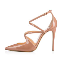 Arden Furtado Summer Fashion Trend Women's Shoes Pointed Toe Stilettos Heels Pure Color Leather Buckle Sexy Elegant Sandals
