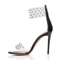 Arden Furtado Summer Fashion Women's Shoes Sexy Elegant Sandals Back zipper Personality Stilettos Heels Party Shoes rivets pvc heels