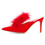 Arden Furtado Summer Fashion Trend Women's Shoes Pointed Toe Stilettos Heels Classics Concise Pure Color Sexy Elegant Slippers
