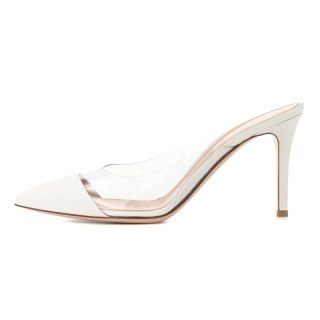 Arden Furtado Summer Fashion Trend Women's Shoes Pointed Toe Stilettos Heels Sexy Elegant PVC Slippers