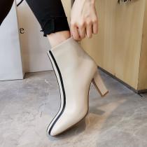 Arden Furtado Fashion Women's Shoes Winter Square Head Sexy Elegant Ladies Boots Concise Leather Pure Color Zipper Short Boots
