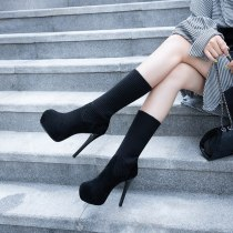 Arden Furtado Fashion Women's Shoes Winter  Stilettos Heels Zipper  Short Boots Sexy Elegant Waterproof Ladies Boots Pure Color