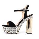 Arden Furtado Summer Fashion Women's Shoes Sexy Elegant Narrow Band Sandals Buckle strap rhinestone shoes