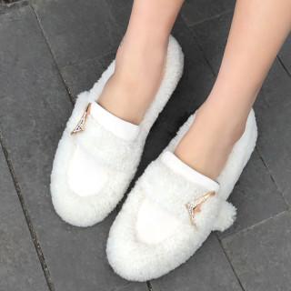 Arden Furtado Fashion Women's Shoes Winter Pointed Toe Pure Color Slip-on Elegant Mature Shallow Concise Classics flats shoes