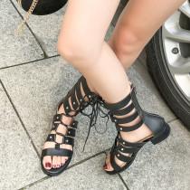 Arden Furtado Summer Fashion Trend Women's Shoes  Sexy Elegant  Pure Color Sandals Cross Lacing Elegant Cool boots Back zipper