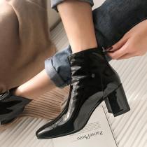 Arden Furtado Fashion Women's Shoes Winter  Pointed Toe Chunky Heels Zipper Classics  Sexy Elegant Pure Color Women's Boots