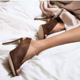 Arden Furtado 2019 Summer Fashion Women's Shoes Stilettos Heels Sexy Elegant Pure Color Slip-on Peep Toe  Leather Elegant party shoes
