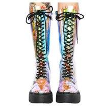 Arden Furtado Spring And autumn Fashion Women's Shoes flat platform Knee High Boots Cross tied zipper PVC Matin Boots
