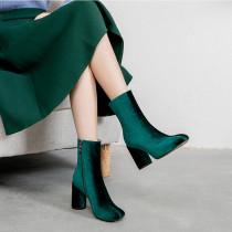 Arden Furtado Fashion Women's Shoes Winter Chunky Heels Zipper Sexy Mature Classics Elegant Ladies Boots Pure Color Short Boots  Big size 40