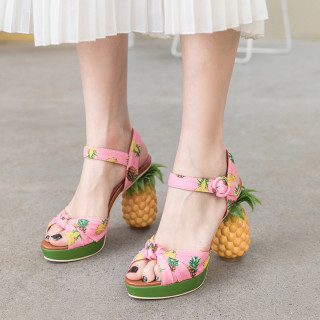 Arden Furtado Summer Fashion Women's Shoes Elegant Buckle strap Elegant Sweet pineapple Sandals