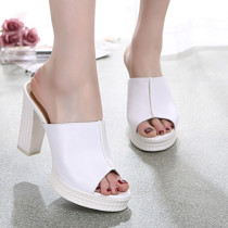 Arden Furtado Summer Fashion Trend Women's Shoes Chunky Heels Concise Sexy Elegant Pure Color Leather Waterproof Slippers