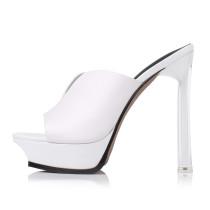 Arden Furtado summer 2019 fashion women's shoes stilettos heels sexy elegant white platform slides waterproof shoes big size 40