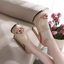Arden Furtado Summer Fashion Trend Women's Shoes Chunky Heels  Sexy Elegant Pure Color Waterproof Slippers  Leather Concise