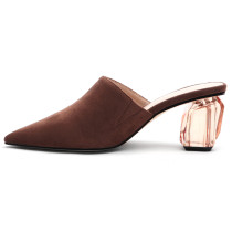 Arden Furtado Summer Fashion Trend Women's Shoes Pointed Toe Chunky Heels Slippers Mules Sexy Elegant  Pure Color Concise