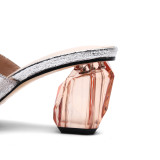 Arden Furtado Summer Fashion Trend Women's Shoes Pointed Toe Chunky Heels  Mules Sexy Elegant Slippers  Pure Color  Leather