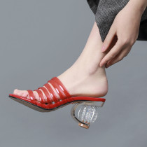 Arden Furtado Summer Fashion Trend Women's Shoes Special-shaped Heels  Sexy Elegant Pure Color Slippers Leather Office lady