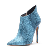 Arden Furtado spring and autumn 2019 fashion women's shoes pointed toe sexy serpentine stilettos heels zipper short boots