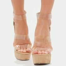 Arden Furtado Summer Fashion Women's Shoes Sexy Elegant pvc wedges Sandals Back zipper Classics Mature Narrow Band high heels