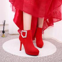 Arden Furtado Fashion Women's Shoes Winter  Pointed Toe Stilettos Heels Zipper  Sexy Elegant Ladies Boots Pure Color Buckle