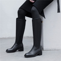 Arden Furtado Fashion Women's Shoes Winter  Pure Color Round Toe Women's Boots Knee High Boots Leather Concise Back zipper