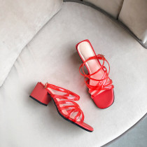 Arden Furtado Summer Fashion Trend Women's Shoes Chunky Heels Pure Color red Narrow Band Sandals Concise Buckle Classics