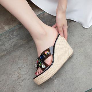 Women's shoes wedges slippers platform crystal rhinestone high heels slides