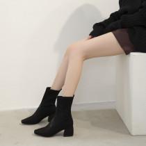 Arden Furtado Fashion Women's Shoes Winter Square Head Pure Color gun color Slip on Short Boots Leather Concise Big size 43