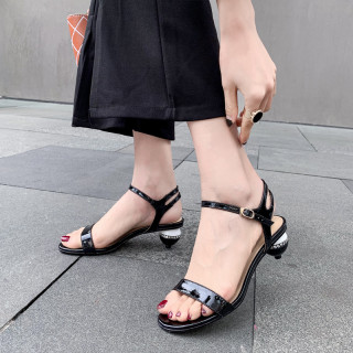 Arden Furtado Summer Fashion Trend Women's Shoes Pure Color blue Leather Sandals Buckle Crystal Rhinestone Special-shaped Heels