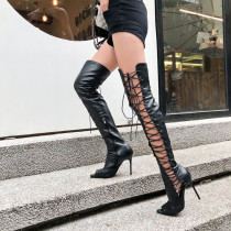 Arden Furtado Summer Fashion Trend Women's Shoes  Sexy Elegant Ladies Boots Pure Color Peep Toe Over The Knee High Boots