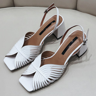 Arden Furtado Summer Fashion Trend Women's Shoes Chunky Heels white Concise  Sexy Elegant Pure Color Sandals Elegant Leather